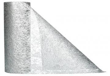 AmaCasa Vlies Tischband Tischläufer Flower Vlies Hochzeit Kommunion 23cm/25m Rolle (Silber, Vlies) - 2