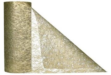 AmaCasa Vlies Tischläufer Gold 23cm/20 Meter Flower Vlies Tischband Hochzeit Kommunion - 2