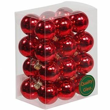 Annastore Kleine Baumkugeln aus Glas Ø 2 cm/2,5 cm/3 cm - Christbaumkugeln Baumschmuck Christbaumschmuck Weihnachtsbaumschmuck Weihnachtsbaumkugeln (2,5 cm, 24 Stück Rot (Glänzend)) - 1