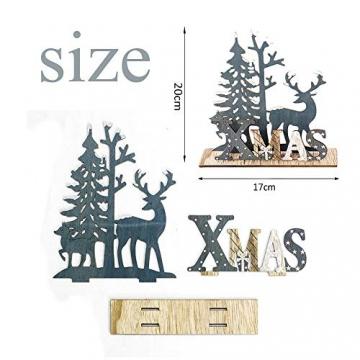 Anyingkai 2pcs Holz Weihnachtsbaum Schneeflocke Elch Dekoration,Weihnachtsschmuck Holz,Weihnachtsholzschmuck,Deko Hirsche aus Holz,Weihnachten Deko - 2