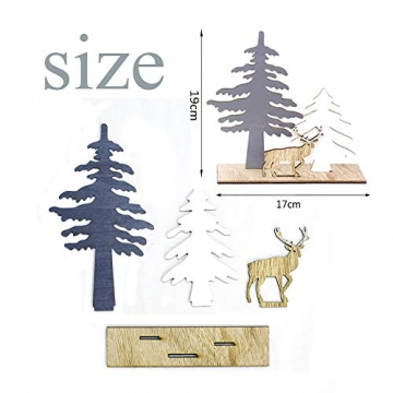 Anyingkai 2pcs Holz Weihnachtsbaum Schneeflocke Elch Dekoration,Weihnachtsschmuck Holz,Weihnachtsholzschmuck,Deko Hirsche aus Holz,Weihnachten Deko - 3