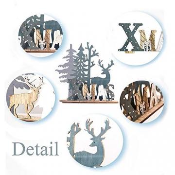 Anyingkai 2pcs Holz Weihnachtsbaum Schneeflocke Elch Dekoration,Weihnachtsschmuck Holz,Weihnachtsholzschmuck,Deko Hirsche aus Holz,Weihnachten Deko - 4