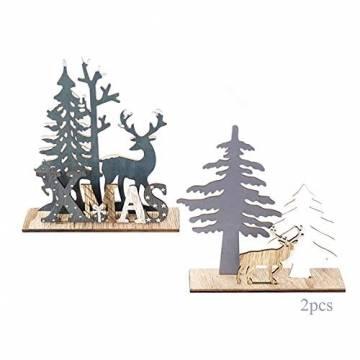 Anyingkai 2pcs Holz Weihnachtsbaum Schneeflocke Elch Dekoration,Weihnachtsschmuck Holz,Weihnachtsholzschmuck,Deko Hirsche aus Holz,Weihnachten Deko - 1