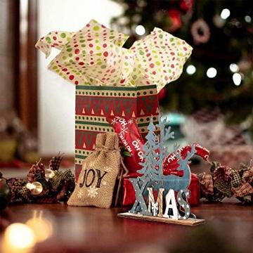 Anyingkai 2pcs Holz Weihnachtsbaum Schneeflocke Elch Dekoration,Weihnachtsschmuck Holz,Weihnachtsholzschmuck,Deko Hirsche aus Holz,Weihnachten Deko - 5