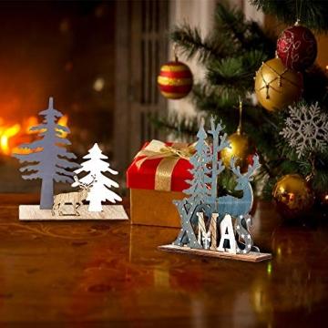 Anyingkai 2pcs Holz Weihnachtsbaum Schneeflocke Elch Dekoration,Weihnachtsschmuck Holz,Weihnachtsholzschmuck,Deko Hirsche aus Holz,Weihnachten Deko - 6