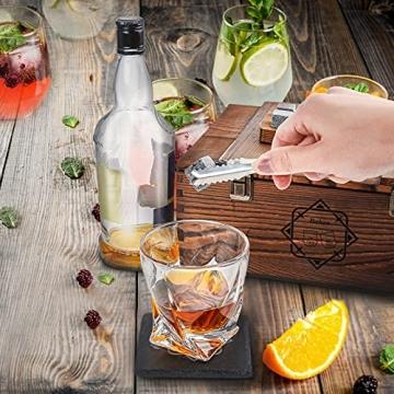 BABAN Whisky Stein Set, Wiederverwendbare Eiswürfel, 8 Eissteine und 2 * 200ml Whiskygläser, Edelstahlclips und Leinentasche, Geschenk Box aus Holz, Männer und Frauen - 2
