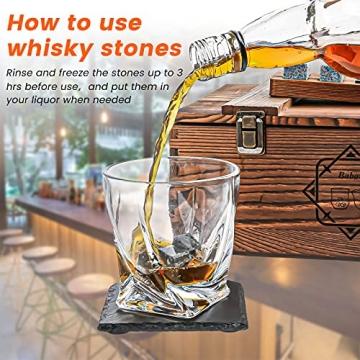 BABAN Whisky Stein Set, Wiederverwendbare Eiswürfel, 8 Eissteine und 2 * 200ml Whiskygläser, Edelstahlclips und Leinentasche, Geschenk Box aus Holz, Männer und Frauen - 3