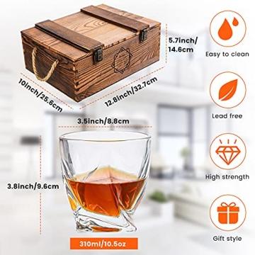 BABAN Whisky Stein Set, Wiederverwendbare Eiswürfel, 8 Eissteine und 2 * 200ml Whiskygläser, Edelstahlclips und Leinentasche, Geschenk Box aus Holz, Männer und Frauen - 4