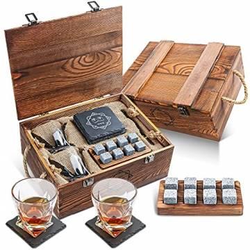 BABAN Whisky Stein Set, Wiederverwendbare Eiswürfel, 8 Eissteine und 2 * 200ml Whiskygläser, Edelstahlclips und Leinentasche, Geschenk Box aus Holz, Männer und Frauen - 1