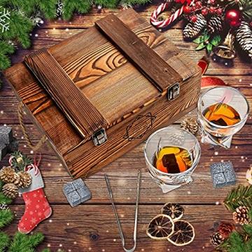 BABAN Whisky Stein Set, Wiederverwendbare Eiswürfel, 8 Eissteine und 2 * 200ml Whiskygläser, Edelstahlclips und Leinentasche, Geschenk Box aus Holz, Männer und Frauen - 5