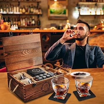 BABAN Whisky Stein Set, Wiederverwendbare Eiswürfel, 8 Eissteine und 2 * 200ml Whiskygläser, Edelstahlclips und Leinentasche, Geschenk Box aus Holz, Männer und Frauen - 6