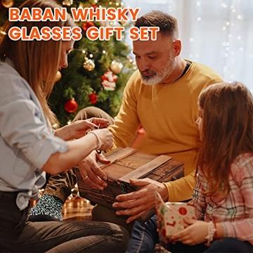 BABAN Whisky Stein Set, Wiederverwendbare Eiswürfel, 8 Eissteine und 2 * 200ml Whiskygläser, Edelstahlclips und Leinentasche, Geschenk Box aus Holz, Männer und Frauen - 7