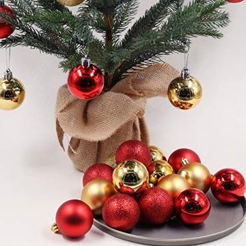 Baumkugeln 24 Stück Christbaumkugeln Weihnachtskugeln 3/4/6/8cm, Morbuy Kunststoff Weihnachtsbaumkugeln Plastik Bruchsicher, Weihnachtsbaumschmuck Weihnachtsdeko (3cm,Rose rot) - 2
