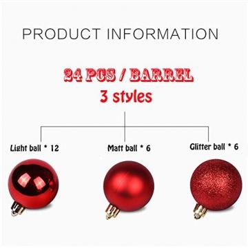 Baumkugeln 24 Stück Christbaumkugeln Weihnachtskugeln 3/4/6/8cm, Morbuy Kunststoff Weihnachtsbaumkugeln Plastik Bruchsicher, Weihnachtsbaumschmuck Weihnachtsdeko (3cm,Rose rot) - 3