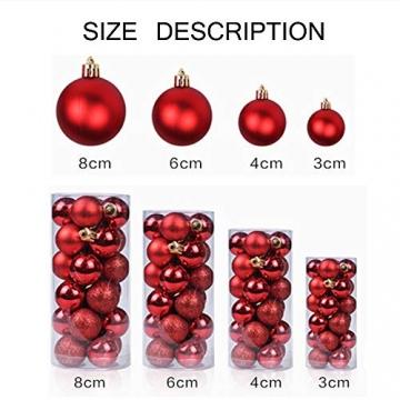 Baumkugeln 24 Stück Christbaumkugeln Weihnachtskugeln 3/4/6/8cm, Morbuy Kunststoff Weihnachtsbaumkugeln Plastik Bruchsicher, Weihnachtsbaumschmuck Weihnachtsdeko (3cm,Rose rot) - 4