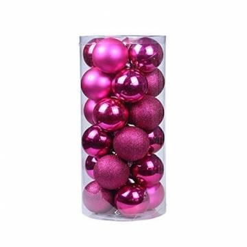 Baumkugeln 24 Stück Christbaumkugeln Weihnachtskugeln 3/4/6/8cm, Morbuy Kunststoff Weihnachtsbaumkugeln Plastik Bruchsicher, Weihnachtsbaumschmuck Weihnachtsdeko (3cm,Rose rot) - 1