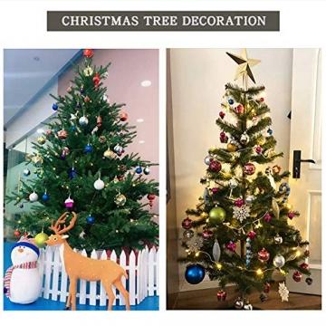 Baumkugeln 24 Stück Christbaumkugeln Weihnachtskugeln 3/4/6/8cm, Morbuy Kunststoff Weihnachtsbaumkugeln Plastik Bruchsicher, Weihnachtsbaumschmuck Weihnachtsdeko (3cm,Rose rot) - 6