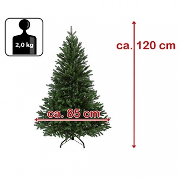 BB Sport Luxus Christbaum 120 cm Dunkelgrün künstlicher Weihnachtsbaum PE/PVC Spritzguss Mix Tannenbaum Standfuß - 7