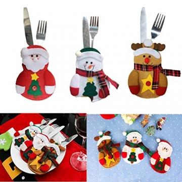 Besteckhalter für Weihnachten OULII Bestecktasche Weihnachtsdeko Tischdeko 6 Stück - 2
