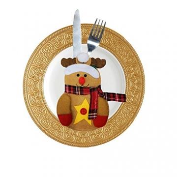 Besteckhalter für Weihnachten OULII Bestecktasche Weihnachtsdeko Tischdeko 6 Stück - 3