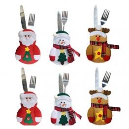 Besteckhalter für Weihnachten OULII Bestecktasche Weihnachtsdeko Tischdeko 6 Stück - 1