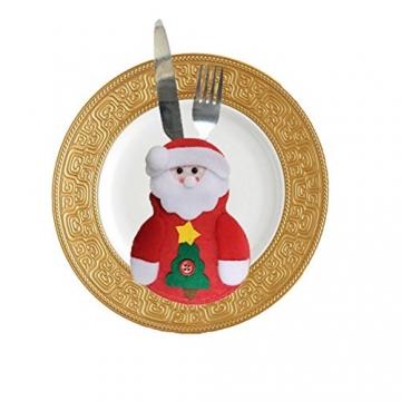 Besteckhalter für Weihnachten OULII Bestecktasche Weihnachtsdeko Tischdeko 6 Stück - 4