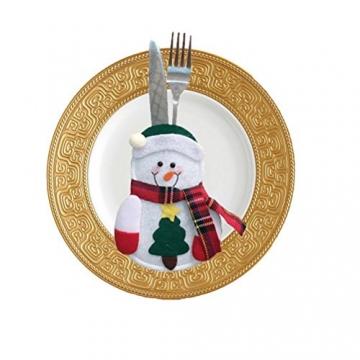 Besteckhalter für Weihnachten OULII Bestecktasche Weihnachtsdeko Tischdeko 6 Stück - 6