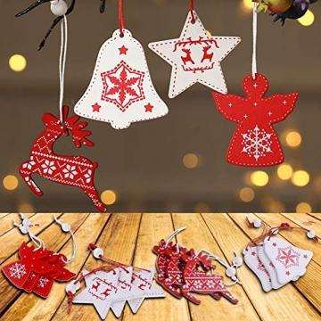 BESTZY Holz Weihnachten Anhänger 24 Stück Weihnachtsbaumschmuck Holz Weihnachten Anhänger Deko Rot und Weiß für Weihnachtsdeko Verzierung - 4