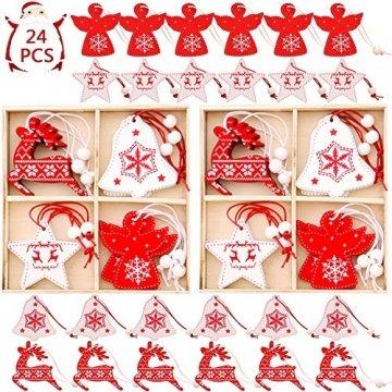 BESTZY Holz Weihnachten Anhänger 24 Stück Weihnachtsbaumschmuck Holz Weihnachten Anhänger Deko Rot und Weiß für Weihnachtsdeko Verzierung - 1