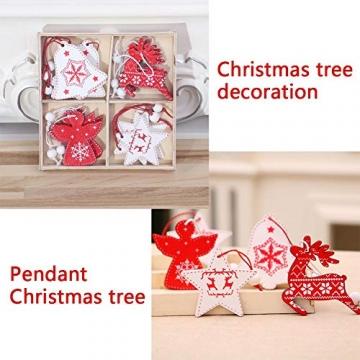 BESTZY Holz Weihnachten Anhänger 24 Stück Weihnachtsbaumschmuck Holz Weihnachten Anhänger Deko Rot und Weiß für Weihnachtsdeko Verzierung - 5