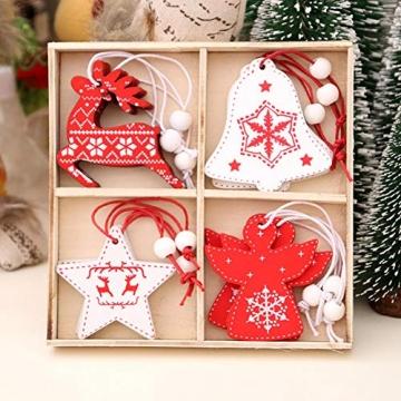 BESTZY Holz Weihnachten Anhänger 24 Stück Weihnachtsbaumschmuck Holz Weihnachten Anhänger Deko Rot und Weiß für Weihnachtsdeko Verzierung - 7