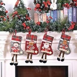 BESTZY Weihnachtsstrumpf 4PCS Nikolausstiefel Christmas Stocking Weihnachten Strumpf Beutel Hängende Strümpfe Weihnachtssocke Weihnachtsdeko zum Deko Befüllen und Aufhängen - 1