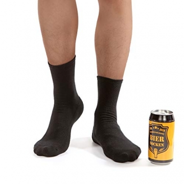 Bier Socken Herren + Flaschenöffner aus Edelstahl, Bier Geschenke für Herren, Geburtstagsgeschenk für Männer, Wenn Du das Lesen Kannst bring mir Bier (Schwarz Biersocken + Flaschenöffner Schwarz) - 2