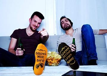 Bier Socken Herren + Flaschenöffner aus Edelstahl, Bier Geschenke für Herren, Geburtstagsgeschenk für Männer, Wenn Du das Lesen Kannst bring mir Bier (Schwarz Biersocken + Flaschenöffner Schwarz) - 3