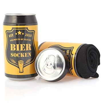 Bier Socken Herren + Flaschenöffner aus Edelstahl, Bier Geschenke für Herren, Geburtstagsgeschenk für Männer, Wenn Du das Lesen Kannst bring mir Bier (Schwarz Biersocken + Flaschenöffner Schwarz) - 4