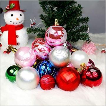 Binjor 40Pcs Christbaumkugeln Boxed Set Kunststoff bunt bruchsicher Wandbehang Ornamente Weihnachtskugeln Baumkugeln Weihnachtsbaum Kugeln Festival Dekore Glänzend Mischfarben Mehrere Stile - 3