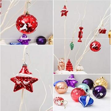 Binjor 40Pcs Christbaumkugeln Boxed Set Kunststoff bunt bruchsicher Wandbehang Ornamente Weihnachtskugeln Baumkugeln Weihnachtsbaum Kugeln Festival Dekore Glänzend Mischfarben Mehrere Stile - 4