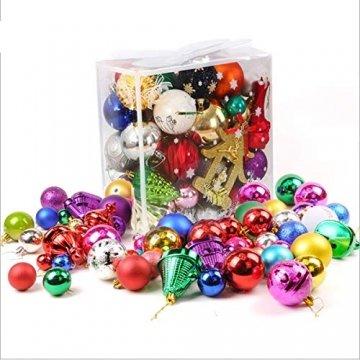 Binjor 40Pcs Christbaumkugeln Boxed Set Kunststoff bunt bruchsicher Wandbehang Ornamente Weihnachtskugeln Baumkugeln Weihnachtsbaum Kugeln Festival Dekore Glänzend Mischfarben Mehrere Stile - 1