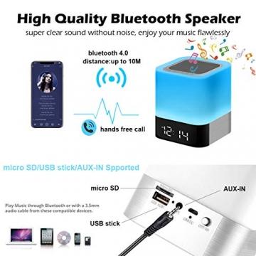 Bluetooth Lautsprecher mit Licht Nachttischlampe Touch Dimmbar Wecker Nachtlicht RGB Farbwechsel LED Tragbarer Bluetooth Lautsprecher Stimmungslicht Tischlampe Geschenke für Mädchen Kinder Teenager - 2