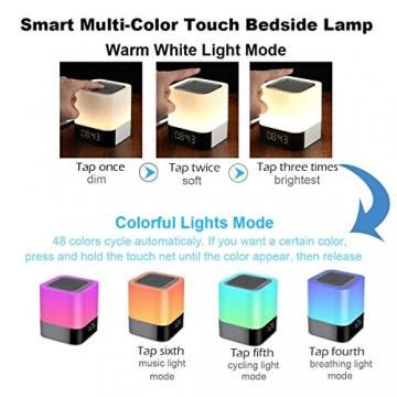Bluetooth Lautsprecher mit Licht Nachttischlampe Touch Dimmbar Wecker Nachtlicht RGB Farbwechsel LED Tragbarer Bluetooth Lautsprecher Stimmungslicht Tischlampe Geschenke für Mädchen Kinder Teenager - 3