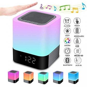 Bluetooth Lautsprecher mit Licht Nachttischlampe Touch Dimmbar Wecker Nachtlicht RGB Farbwechsel LED Tragbarer Bluetooth Lautsprecher Stimmungslicht Tischlampe Geschenke für Mädchen Kinder Teenager - 1