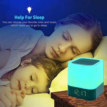 Bluetooth Lautsprecher mit Licht Nachttischlampe Touch Dimmbar Wecker Nachtlicht RGB Farbwechsel LED Tragbarer Bluetooth Lautsprecher Stimmungslicht Tischlampe Geschenke für Mädchen Kinder Teenager - 5