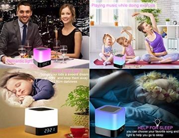 Bluetooth Lautsprecher mit Licht Nachttischlampe Touch Dimmbar Wecker Nachtlicht RGB Farbwechsel LED Tragbarer Bluetooth Lautsprecher Stimmungslicht Tischlampe Geschenke für Mädchen Kinder Teenager - 7
