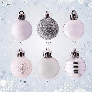 Bochang Kaishuai Mini weihnachtskugeln 54 Stück 30mm Silber deko Christbaumkugeln Set in6 Farben,Weihnachtsbaumkugeln-Silber Weiss,Baumschmuck &Christbaumkugeln Plastik - 3