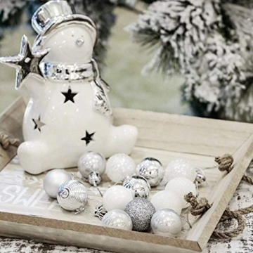 Bochang Kaishuai Mini weihnachtskugeln 54 Stück 30mm Silber deko Christbaumkugeln Set in6 Farben,Weihnachtsbaumkugeln-Silber Weiss,Baumschmuck &Christbaumkugeln Plastik - 4