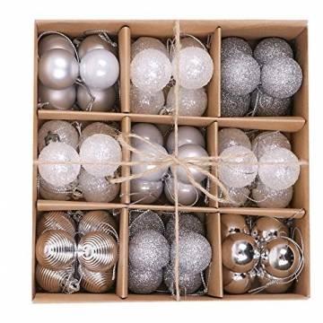 Bochang Kaishuai Mini weihnachtskugeln 54 Stück 30mm Silber deko Christbaumkugeln Set in6 Farben,Weihnachtsbaumkugeln-Silber Weiss,Baumschmuck &Christbaumkugeln Plastik - 1