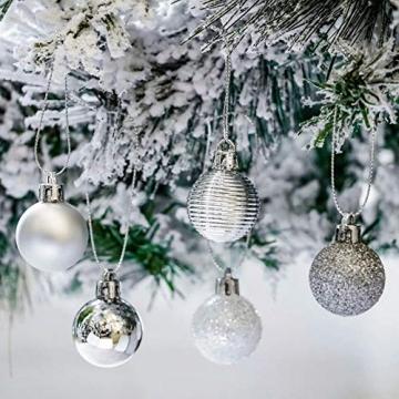 Bochang Kaishuai Mini weihnachtskugeln 54 Stück 30mm Silber deko Christbaumkugeln Set in6 Farben,Weihnachtsbaumkugeln-Silber Weiss,Baumschmuck &Christbaumkugeln Plastik - 5