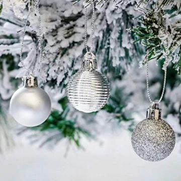 Bochang Kaishuai Mini weihnachtskugeln 54 Stück 30mm Silber deko Christbaumkugeln Set in6 Farben,Weihnachtsbaumkugeln-Silber Weiss,Baumschmuck &Christbaumkugeln Plastik - 6