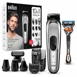 Braun 10-in-1-Trimmer MGK7220 Herren-Barttrimmer, Bodygrooming-Set und Haarschneider, grau/silber - 1