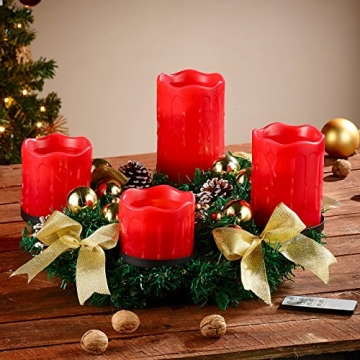Britesta Adventkranz: Adventskranz mit roten LED-Kerzen, goldfarben geschmückt (Adventskranz mit LED-Beleuchtung) - 3